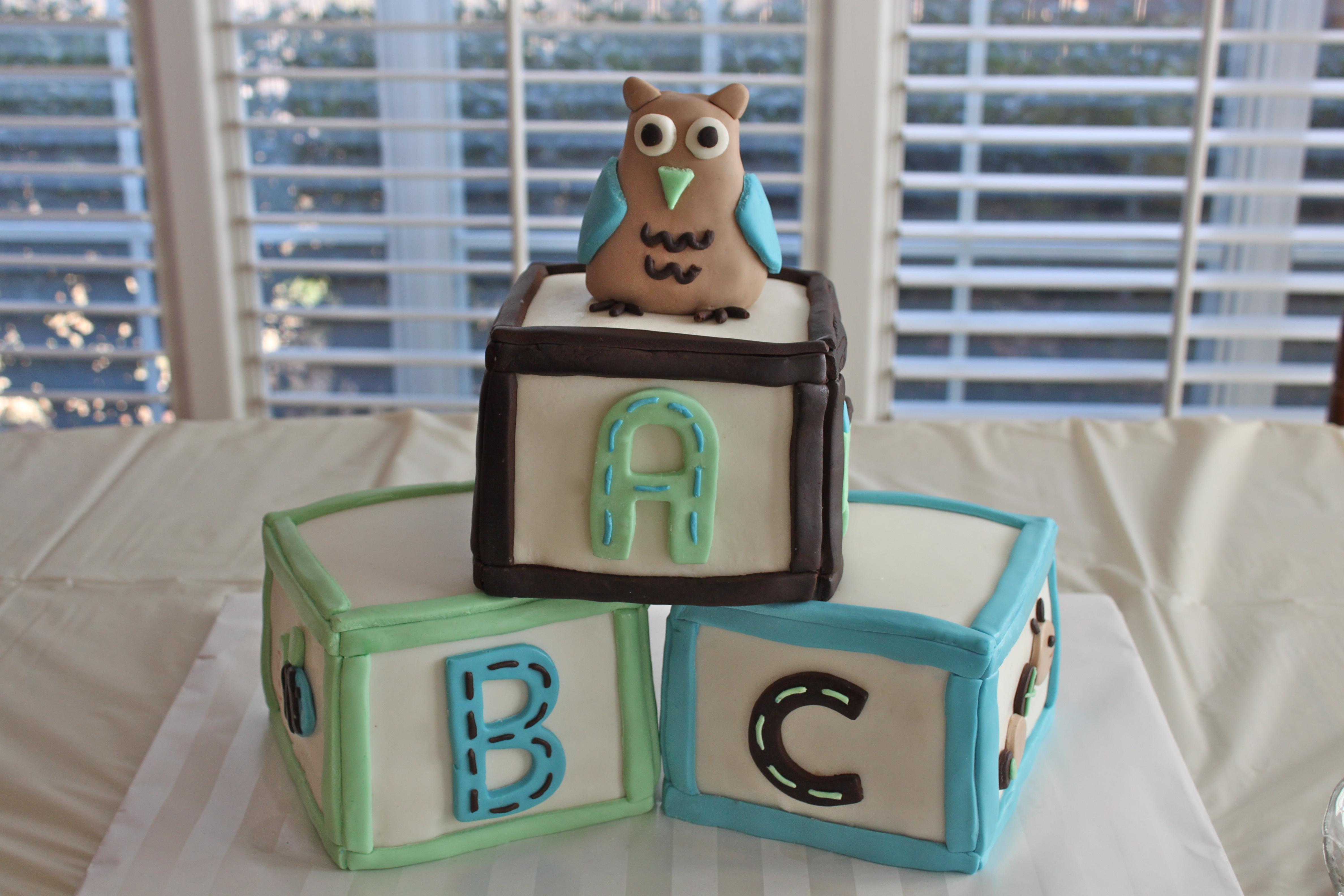 Owl Baby Shower Block Cake